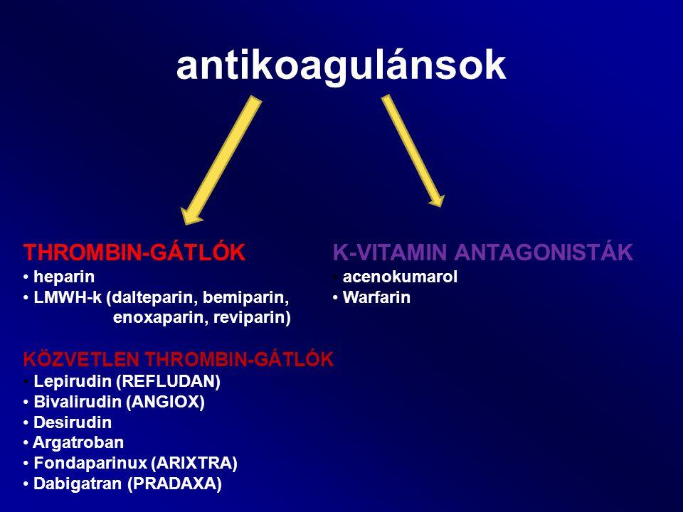 antikoagulánsok THROMBIN-GÁTLÓK heparin LMWH-k (dalteparin, bemiparin, enoxaparin, reviparin) KÖZVETLEN THROMBIN-GÁTLÓK Lepirudin (REFLUDAN) Bivalirud