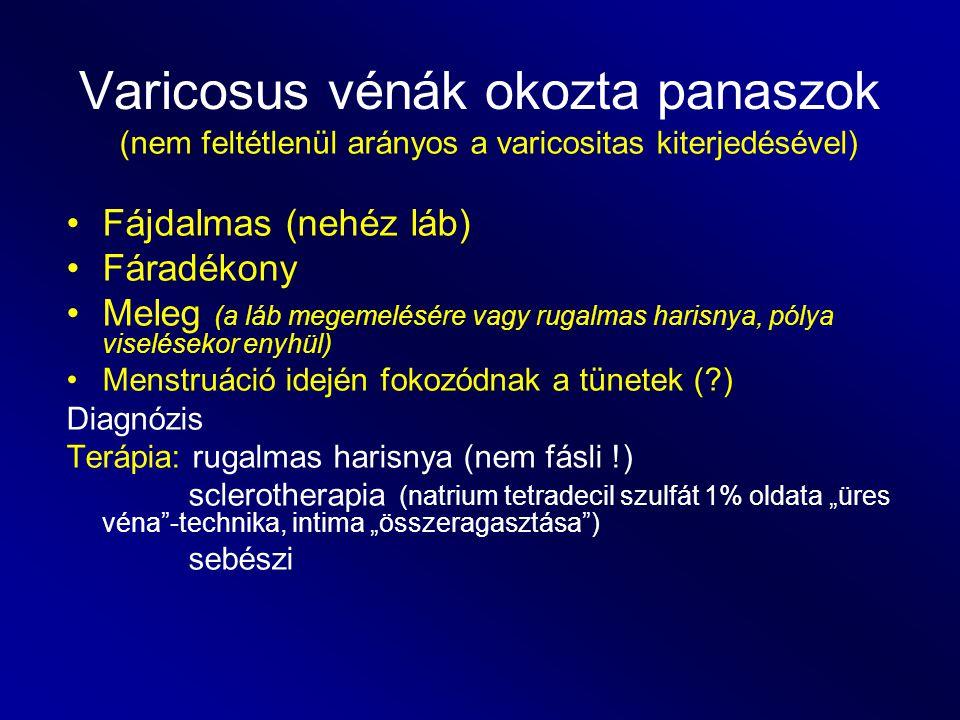 Varicosus vénák okozta panaszok (nem feltétlenül arányos a varicositas kiterjedésével) Fájdalmas (nehéz láb) Fáradékony Meleg (a láb megemelésére vagy