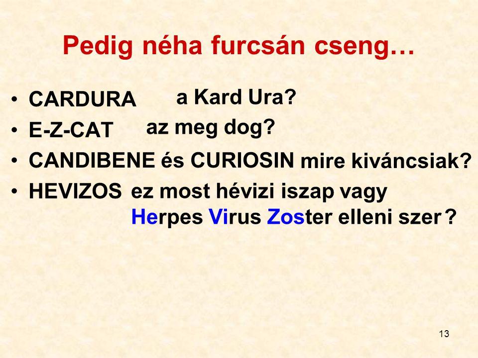 13 Pedig néha furcsán cseng… CARDURA E-Z-CAT CANDIBENE és CURIOSIN HEVIZOS a Kard Ura? az meg dog? mire kiváncsiak? ez most hévizi iszap vagy Herpes V