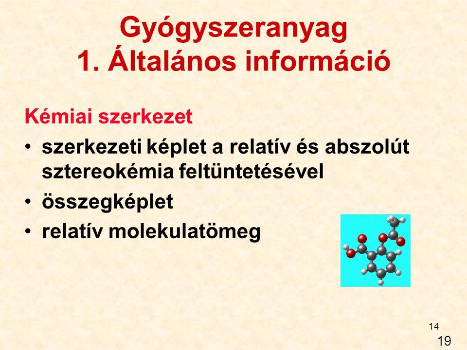 14 Gyógyszeranyag 1. Általános információ Kémiai szerkezet szerkezeti képlet a relatív és abszolút sztereokémia feltüntetésével összegképlet relatív m