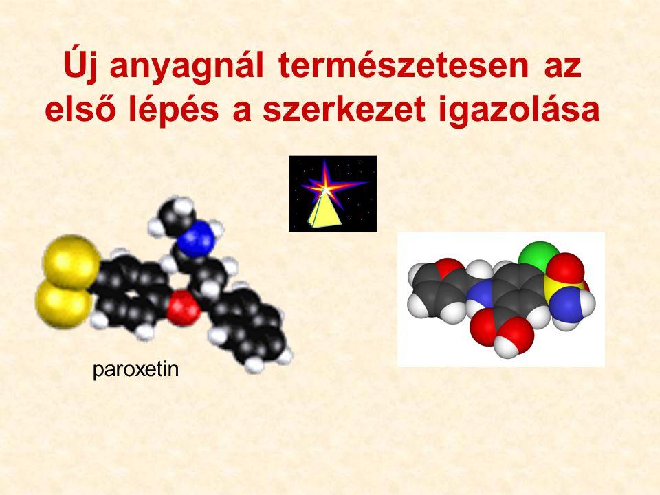 15 Új anyagnál természetesen az első lépés a szerkezet igazolása furosemid SO 2 NH 2 HOOC Cl NH-CH 2 O paroxetin