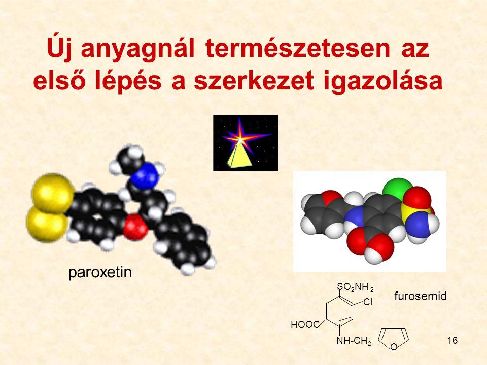 16 Új anyagnál természetesen az első lépés a szerkezet igazolása furosemid SO 2 NH 2 HOOC Cl NH-CH 2 O paroxetin