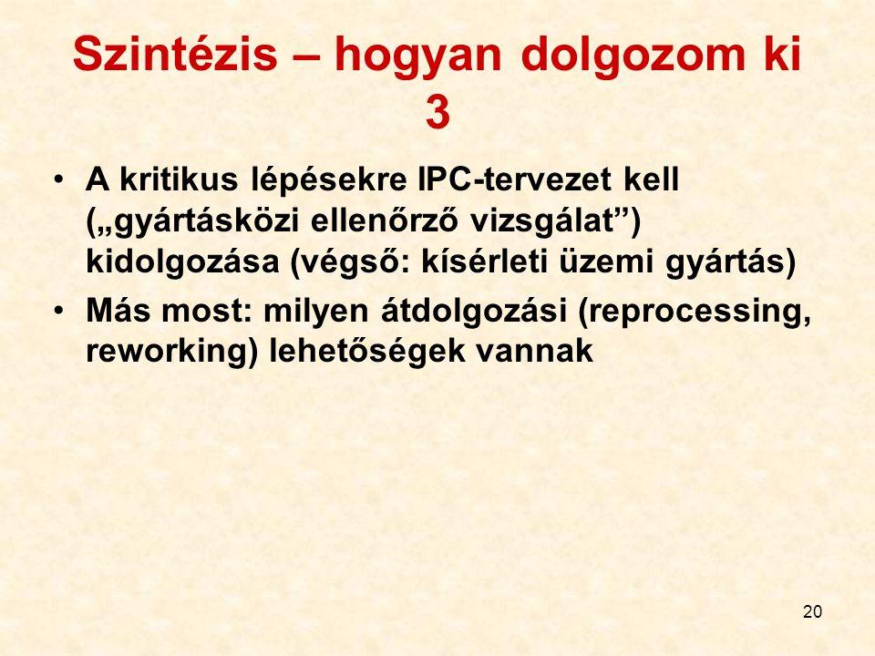 """20 Szintézis – hogyan dolgozom ki 3 A kritikus lépésekre IPC-tervezet kell (""""gyártásközi ellenőrző vizsgálat"""") kidolgozása (végső: kísérleti üzemi gyá"""