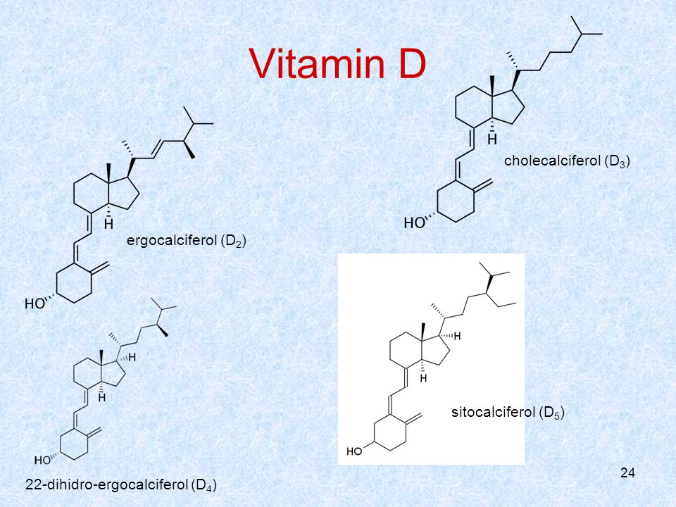 24 Vitamin D 22-dihidro-ergocalciferol (D 4 ) ergocalciferol (D 2 ) cholecalciferol (D 3 ) sitocalciferol (D 5 )