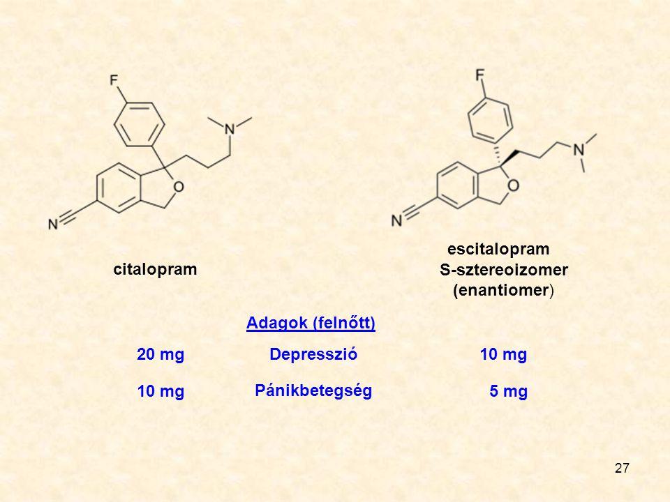 27 citalopram escitalopram S-sztereoizomer (enantiomer) Adagok (felnőtt) Depresszió Pánikbetegség 20 mg 10 mg 5 mg