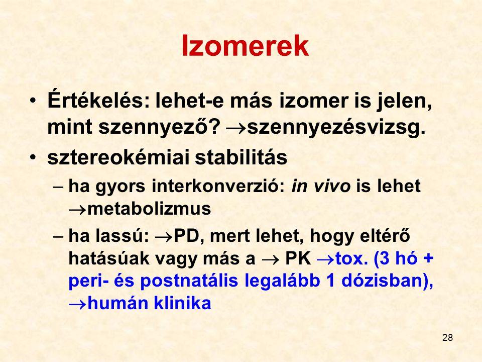 28 Izomerek Értékelés: lehet-e más izomer is jelen, mint szennyező?  szennyezésvizsg. sztereokémiai stabilitás –ha gyors interkonverzió: in vivo is l