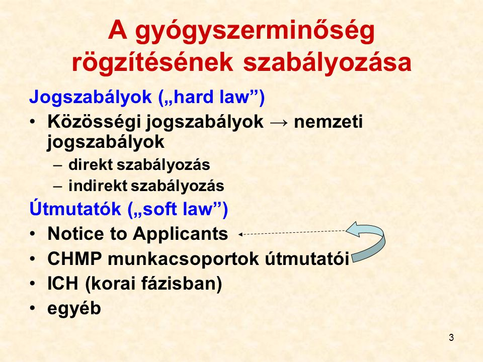 """3 A gyógyszerminőség rögzítésének szabályozása Jogszabályok (""""hard law"""") Közösségi jogszabályok → nemzeti jogszabályok –direkt szabályozás –indirekt s"""