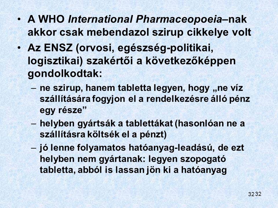 32 A WHO International Pharmaceopoeia–nak akkor csak mebendazol szirup cikkelye volt Az ENSZ (orvosi, egészség-politikai, logisztikai) szakértői a köv