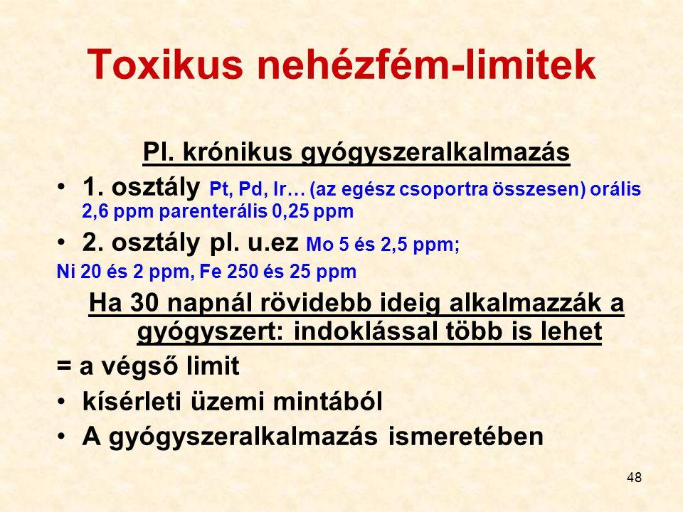 48 Toxikus nehézfém-limitek Pl. krónikus gyógyszeralkalmazás 1. osztály Pt, Pd, Ir… (az egész csoportra összesen) orális 2,6 ppm parenterális 0,25 ppm