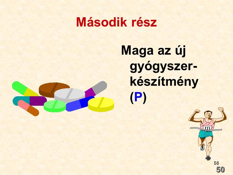 56 Második rész Maga az új gyógyszer- készítmény (P) 50