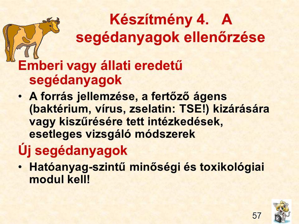 70 Készítmény 4. A segédanyagok ellenőrzése Emberi vagy állati eredetű segédanyagok A forrás jellemzése, a fertőző ágens (baktérium, vírus, zselatin: