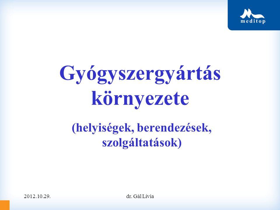 Gyógyszergyártás környezete (helyiségek, berendezések, szolgáltatások) dr. Gál Lívia2012.10.29.