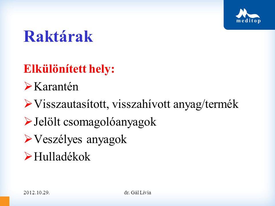 Raktárak Elkülönített hely:  Karantén  Visszautasított, visszahívott anyag/termék  Jelölt csomagolóanyagok  Veszélyes anyagok  Hulladékok 2012.10.29.dr.