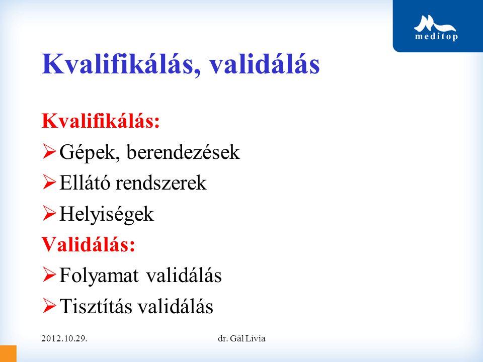 Kvalifikálás, validálás Kvalifikálás:  Gépek, berendezések  Ellátó rendszerek  Helyiségek Validálás:  Folyamat validálás  Tisztítás validálás 2012.10.29.dr.