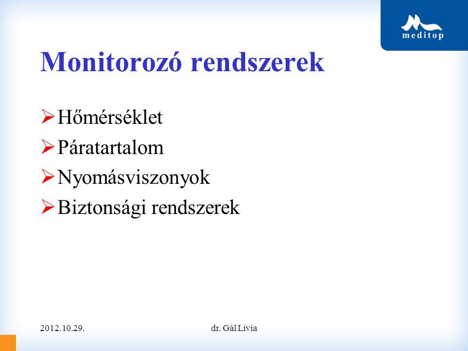 Monitorozó rendszerek  Hőmérséklet  Páratartalom  Nyomásviszonyok  Biztonsági rendszerek 2012.10.29.dr. Gál Lívia