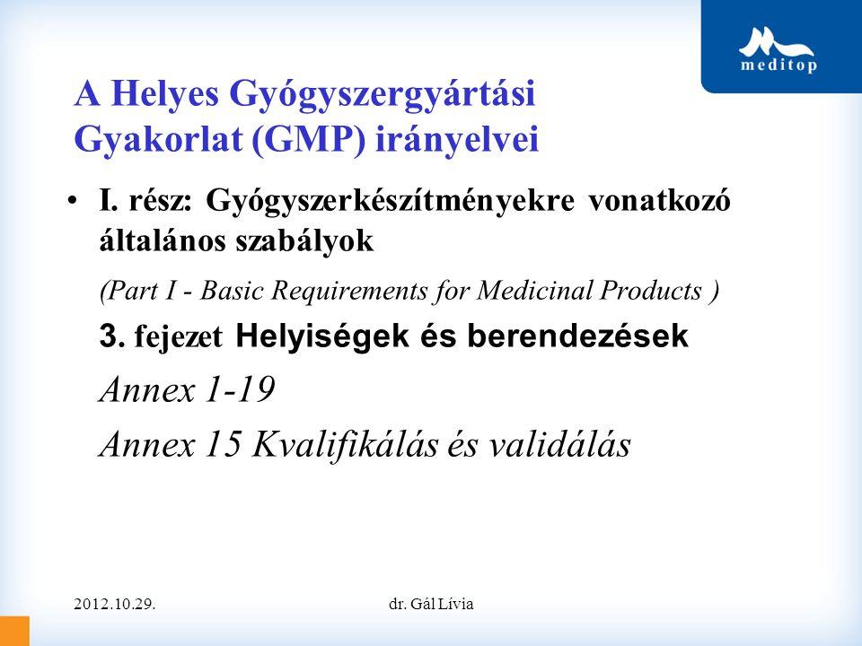 A Helyes Gyógyszergyártási Gyakorlat (GMP) irányelvei I. rész: Gyógyszerkészítményekre vonatkozó általános szabályok (Part I - Basic Requirements for
