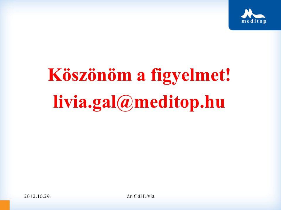 Köszönöm a figyelmet! livia.gal@meditop.hu 2012.10.29.dr. Gál Lívia