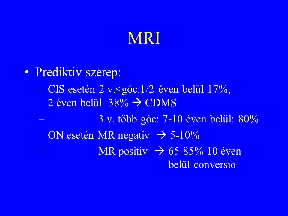 MRI Prediktiv szerep: –CIS esetén 2 v.<góc:1/2 éven belül 17%, 2 éven belül 38%  CDMS – 3 v.