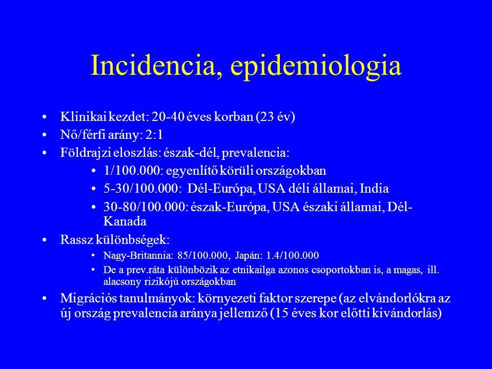 Incidencia, epidemiologia Klinikai kezdet: 20-40 éves korban (23 év) Nő/férfi arány: 2:1 Földrajzi eloszlás: észak-dél, prevalencia: 1/100.000: egyenlítő körüli országokban 5-30/100.000: Dél-Európa, USA déli államai, India 30-80/100.000: észak-Európa, USA északi államai, Dél- Kanada Rassz különbségek: Nagy-Britannia: 85/100.000, Japán: 1.4/100.000 De a prev.ráta különbözik az etnikailga azonos csoportokban is, a magas, ill.
