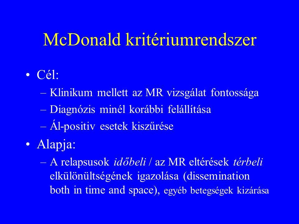 McDonald kritériumrendszer Cél: –Klinikum mellett az MR vizsgálat fontossága –Diagnózis minél korábbi felállítása –Ál-positiv esetek kiszűrése Alapja: –A relapsusok időbeli / az MR eltérések térbeli elkülönültségének igazolása (dissemination both in time and space), egyéb betegségek kizárása
