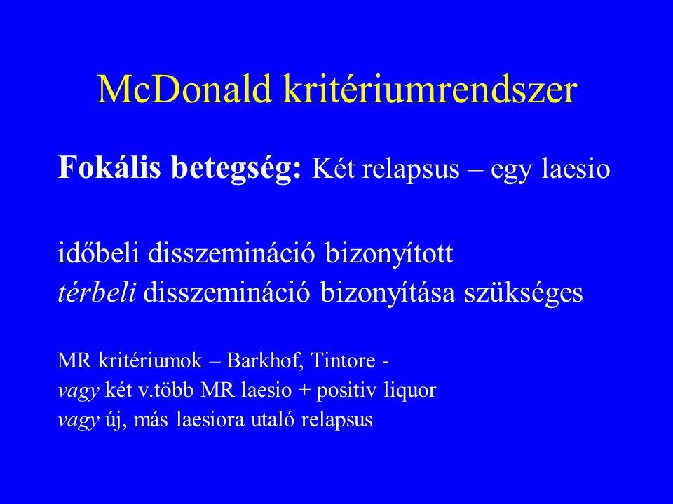 McDonald kritériumrendszer Fokális betegség: Két relapsus – egy laesio időbeli disszemináció bizonyított térbeli disszemináció bizonyítása szükséges MR kritériumok – Barkhof, Tintore - vagy két v.több MR laesio + positiv liquor vagy új, más laesiora utaló relapsus