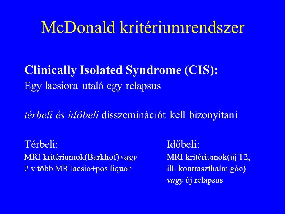 McDonald kritériumrendszer Clinically Isolated Syndrome (CIS): Egy laesiora utaló egy relapsus térbeli és időbeli disszeminációt kell bizonyítani Térbeli:Időbeli: MRI kritériumok(Barkhof) vagyMRI kritériumok(új T2, 2 v.több MR laesio+pos.liquorill.