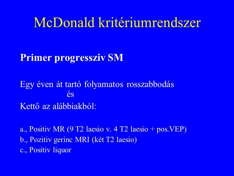 McDonald kritériumrendszer Primer progressziv SM Egy éven át tartó folyamatos rosszabbodás és Kettő az alábbiakból: a., Positiv MR (9 T2 laesio v.