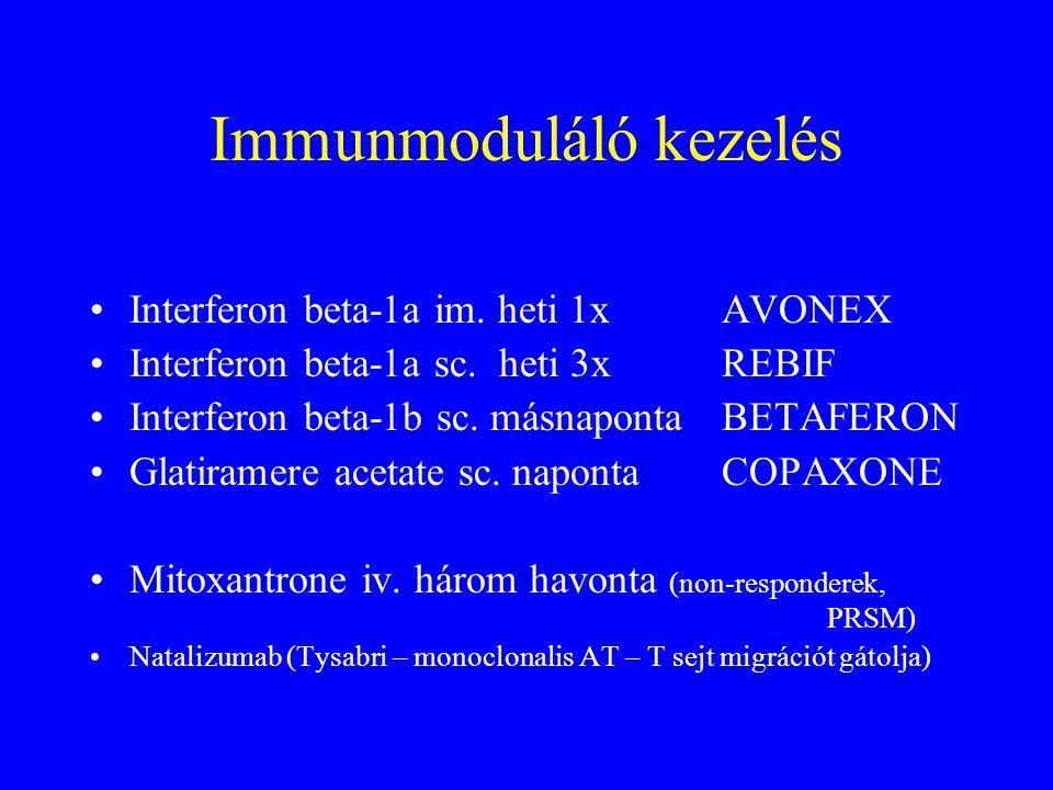 Immunmoduláló kezelés Interferon beta-1a im.heti 1x AVONEX Interferon beta-1a sc.