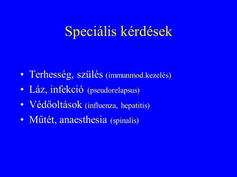 Speciális kérdések Terhesség, szülés (immunmod.kezelés) Láz, infekció (pseudorelapsus) Védőoltások (influenza, hepatitis) Műtét, anaesthesia (spinalis)