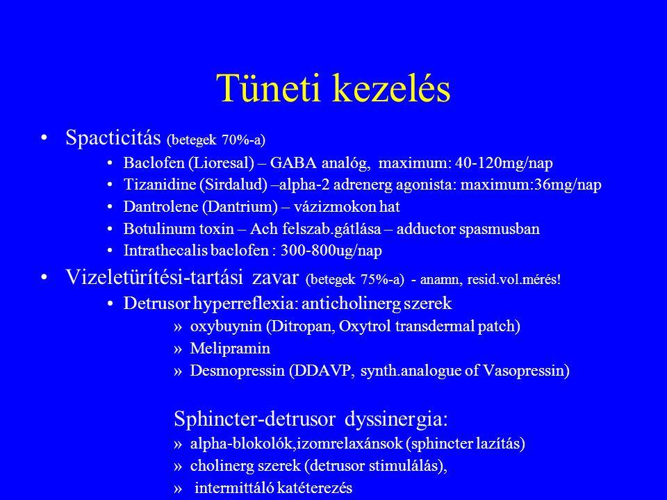 Tüneti kezelés Spacticitás (betegek 70%-a) Baclofen (Lioresal) – GABA analóg, maximum: 40-120mg/nap Tizanidine (Sirdalud) –alpha-2 adrenerg agonista: maximum:36mg/nap Dantrolene (Dantrium) – vázizmokon hat Botulinum toxin – Ach felszab.gátlása – adductor spasmusban Intrathecalis baclofen : 300-800ug/nap Vizeletürítési-tartási zavar (betegek 75%-a) - anamn, resid.vol.mérés.