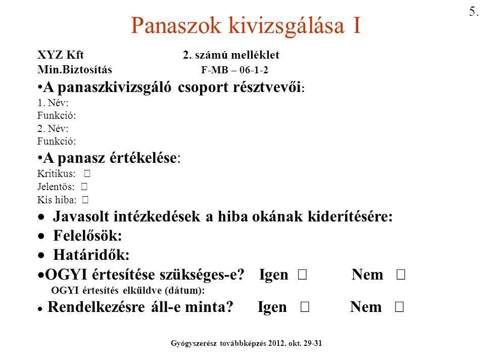 Panaszok kivizsgálása I Gyógyszerész továbbképzés 2012. okt. 29-31 XYZ Kft 2. számú melléklet Min.Biztosítás F-MB – 06-1-2 A panaszkivizsgáló csoport