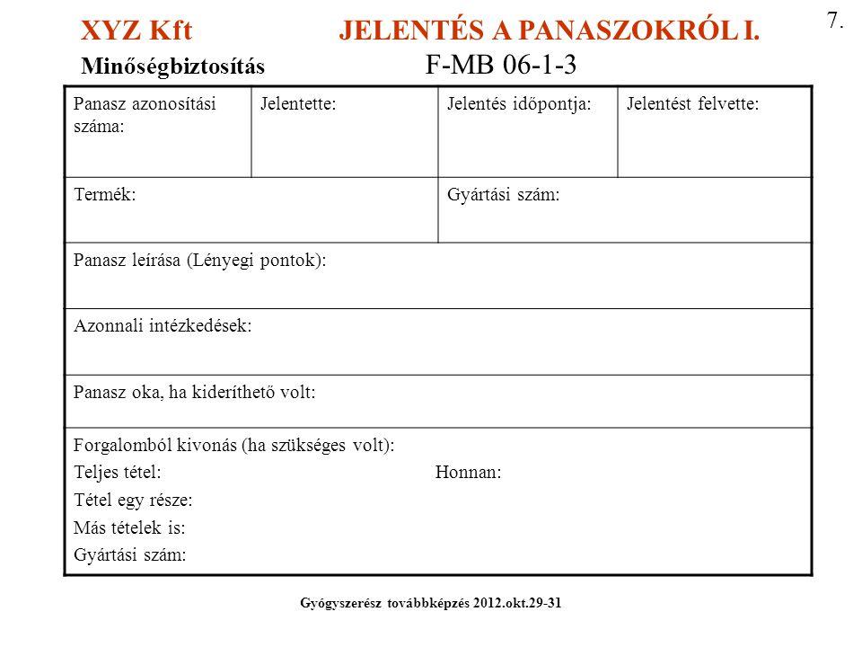 XYZ Kft JELENTÉS A PANASZOKRÓL I.