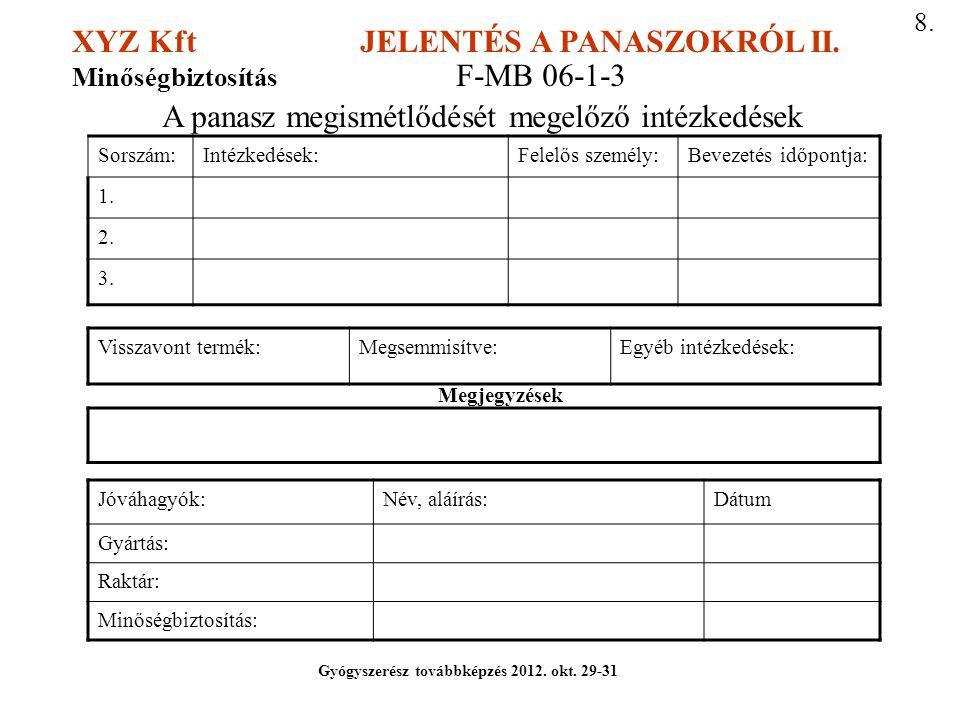 XYZ Kft JELENTÉS A PANASZOKRÓL II. Minőségbiztosítás F-MB 06-1-3 A panasz megismétlődését megelőző intézkedések Sorszám:Intézkedések:Felelős személy:B
