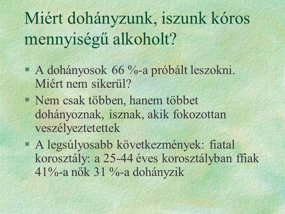 Miért dohányzunk, iszunk kóros mennyiségű alkoholt.