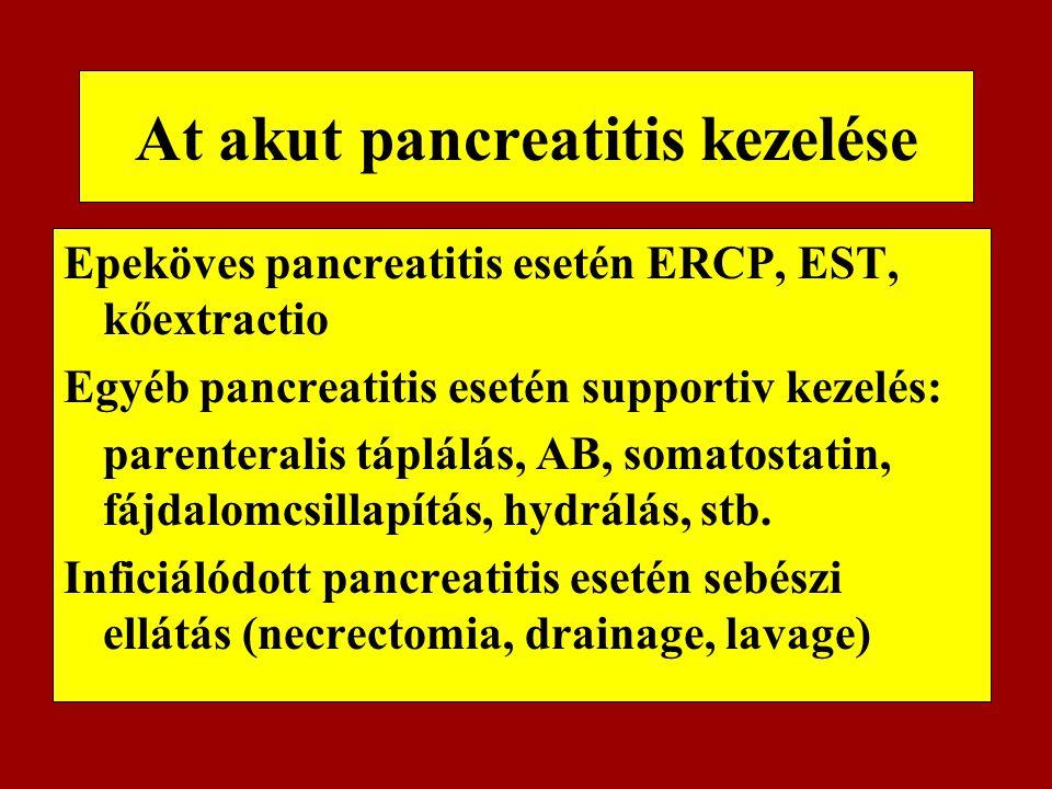 At akut pancreatitis kezelése Epeköves pancreatitis esetén ERCP, EST, kőextractio Egyéb pancreatitis esetén supportiv kezelés: parenteralis táplálás,