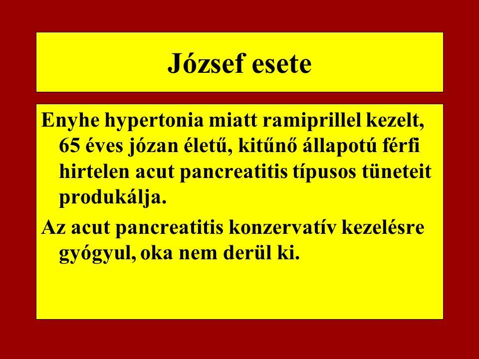 József esete Enyhe hypertonia miatt ramiprillel kezelt, 65 éves józan életű, kitűnő állapotú férfi hirtelen acut pancreatitis típusos tüneteit produká
