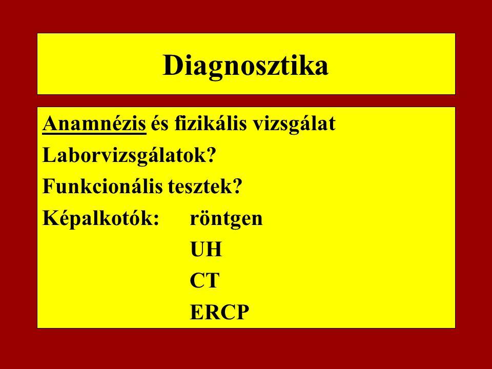 Diagnosztika Anamnézis és fizikális vizsgálat Laborvizsgálatok? Funkcionális tesztek? Képalkotók: röntgen UH CT ERCP