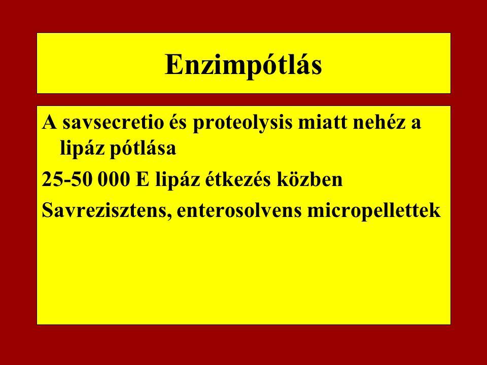 Enzimpótlás A savsecretio és proteolysis miatt nehéz a lipáz pótlása 25-50 000 E lipáz étkezés közben Savrezisztens, enterosolvens micropellettek