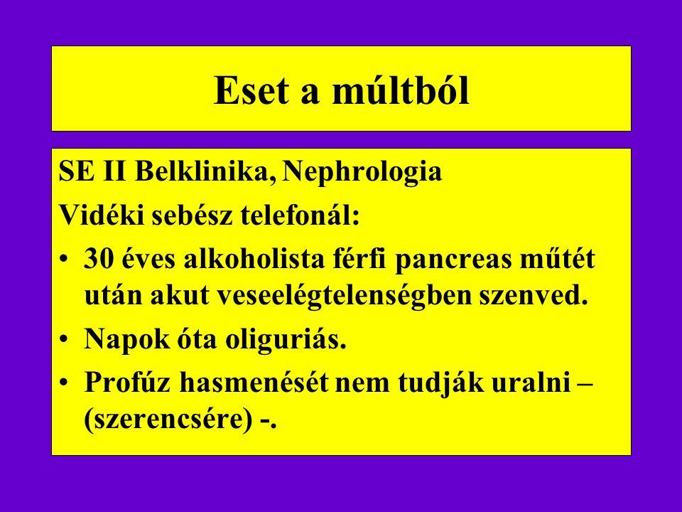 Eset a múltból SE II Belklinika, Nephrologia Vidéki sebész telefonál: 30 éves alkoholista férfi pancreas műtét után akut veseelégtelenségben szenved.