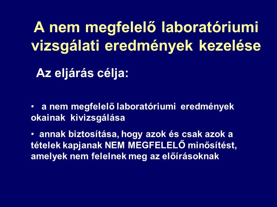 Az eljárás célja: a nem megfelelő laboratóriumi eredmények okainak kivizsgálása annak biztosítása, hogy azok és csak azok a tételek kapjanak NEM MEGFE