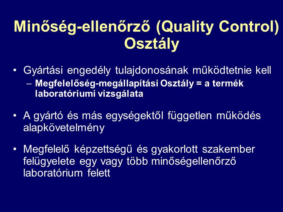 Minőség-ellenőrző (Quality Control) Osztály Gyártási engedély tulajdonosának működtetnie kell –Megfelelőség-megállapítási Osztály = a termék laboratór