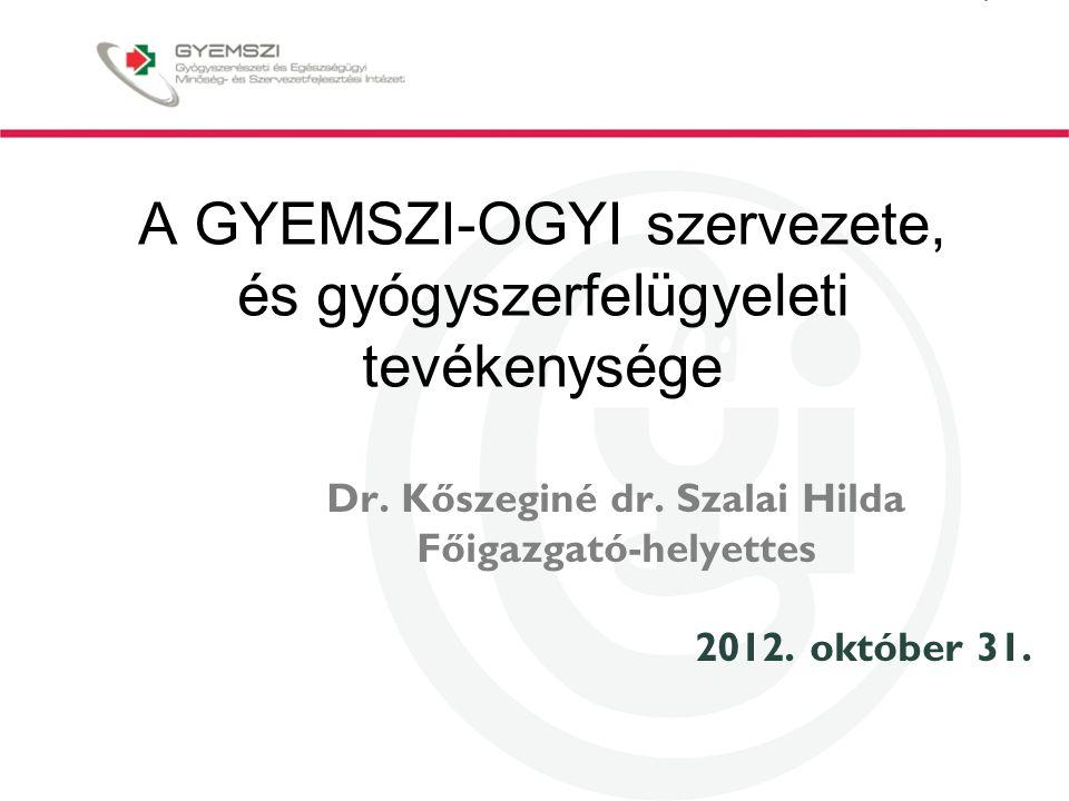 A GYEMSZI-OGYI szervezete, és gyógyszerfelügyeleti tevékenysége Dr.