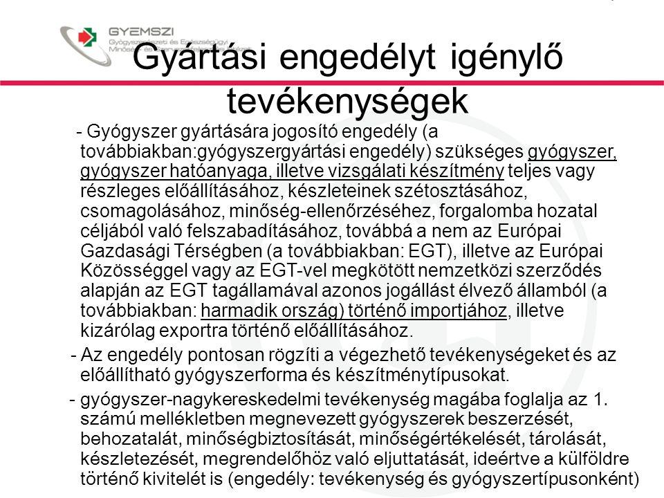 Gyártási engedélyt igénylő tevékenységek - Gyógyszer gyártására jogosító engedély (a továbbiakban:gyógyszergyártási engedély) szükséges gyógyszer, gyógyszer hatóanyaga, illetve vizsgálati készítmény teljes vagy részleges előállításához, készleteinek szétosztásához, csomagolásához, minőség-ellenőrzéséhez, forgalomba hozatal céljából való felszabadításához, továbbá a nem az Európai Gazdasági Térségben (a továbbiakban: EGT), illetve az Európai Közösséggel vagy az EGT-vel megkötött nemzetközi szerződés alapján az EGT tagállamával azonos jogállást élvező államból (a továbbiakban: harmadik ország) történő importjához, illetve kizárólag exportra történő előállításához.