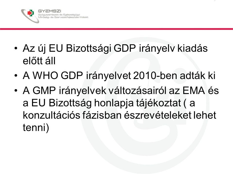 Az új EU Bizottsági GDP irányelv kiadás előtt áll A WHO GDP irányelvet 2010-ben adták ki A GMP irányelvek változásairól az EMA és a EU Bizottság honlapja tájékoztat ( a konzultációs fázisban észrevételeket lehet tenni)