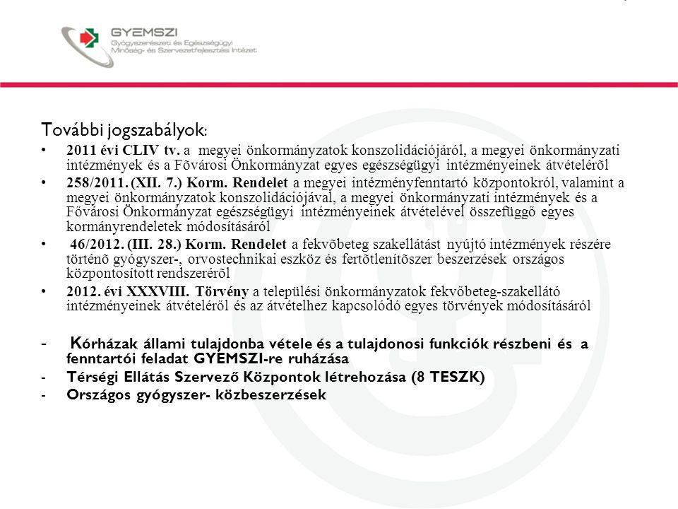További jogszabályok : 2011 évi CLIV tv.