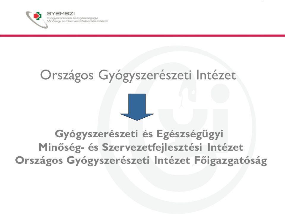Országos Gyógyszerészeti Intézet Gyógyszerészeti és Egészségügyi Minőség- és Szervezetfejlesztési Intézet Országos Gyógyszerészeti Intézet Főigazgatóság