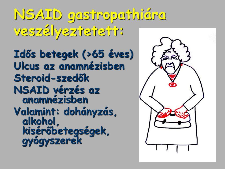 NSAID gastropathiára veszélyeztetett: Idős betegek (>65 éves) Ulcus az anamnézisben Steroid-szedők NSAID vérzés az anamnézisben Valamint: dohányzás, a