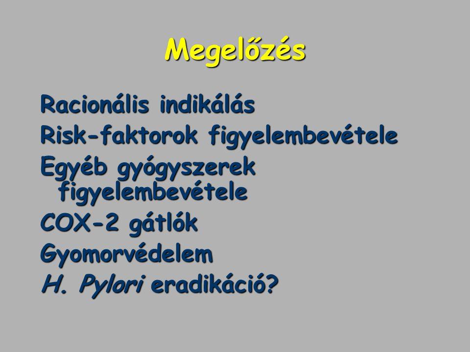 Megelőzés Racionális indikálás Risk-faktorok figyelembevétele Egyéb gyógyszerek figyelembevétele COX-2 gátlók Gyomorvédelem H. Pylori eradikáció?