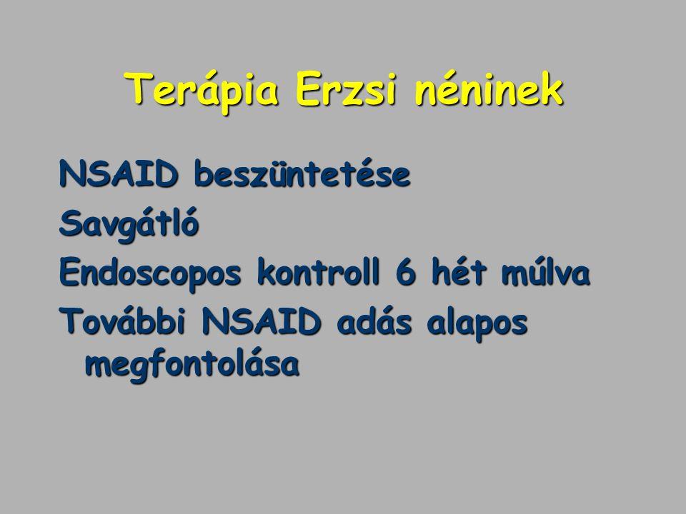 Terápia Erzsi néninek NSAID beszüntetése Savgátló Endoscopos kontroll 6 hét múlva További NSAID adás alapos megfontolása