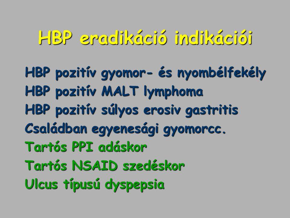 HBP eradikáció indikációi HBP pozitív gyomor- és nyombélfekély HBP pozitív MALT lymphoma HBP pozitív súlyos erosiv gastritis Családban egyenesági gyom